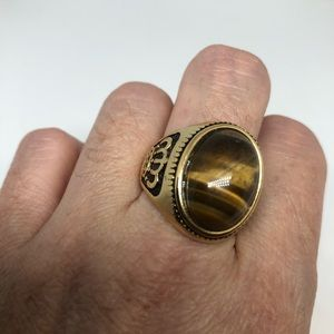 Vintage golden stainless steel tigers eye ring